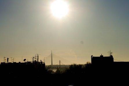 sun, belgrade, bridge, river, landscape