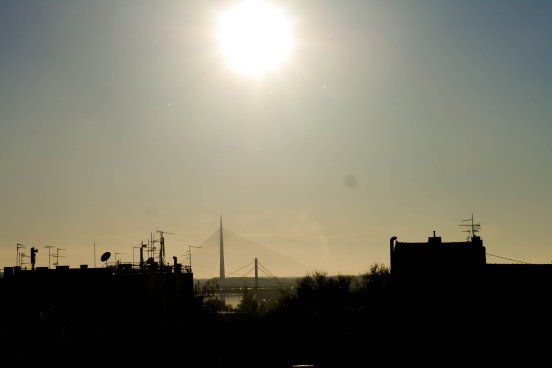 sun, belgrade, bridge, river, landscape