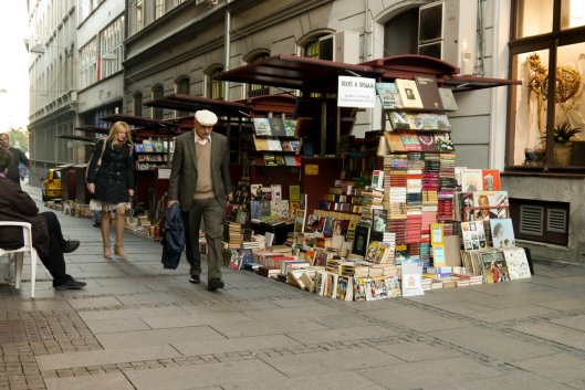 street, books, belgrade, woman, man, books