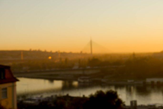 sunset, blur, belgrade, bridge river, Danube