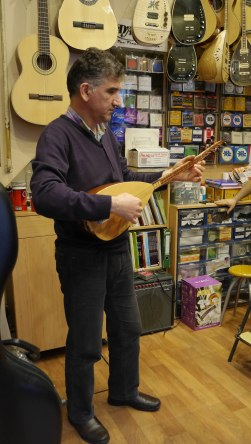 Music performance in a store along Galip Dede Str