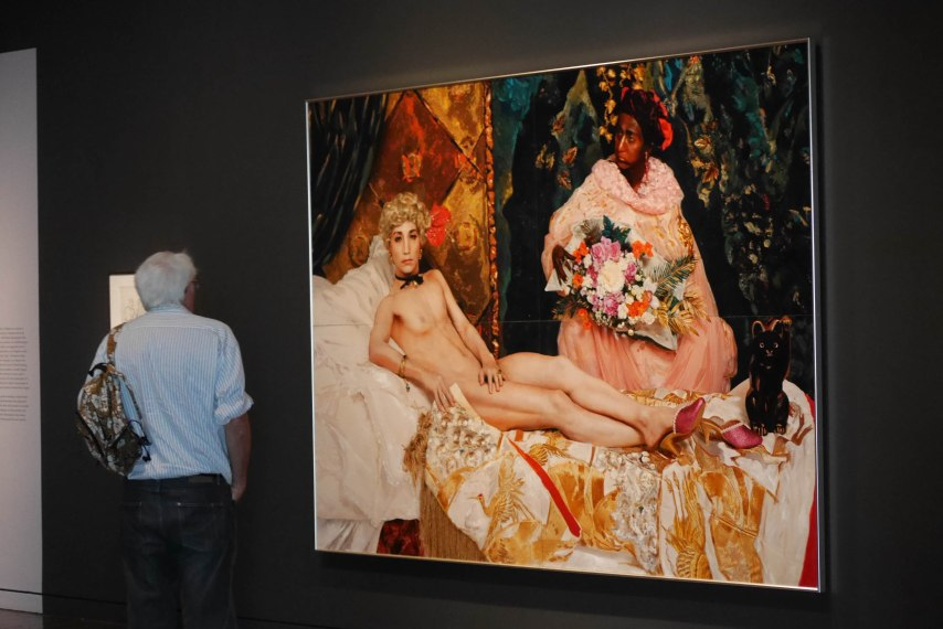 Portrait (1988) by Yasumasa Morimura recreating the Mane's painting Olympia; from the exhibition Gorgeous at the Asian Art Museum