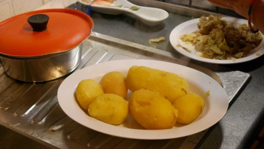 Peeling the potatoes