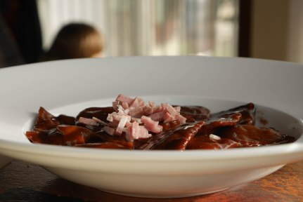 Donkey filled pasta cooked in Barolo wine
