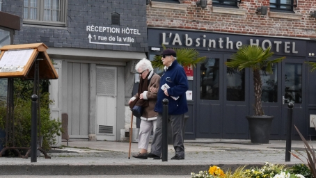 A lovely elder couple out for a walk
